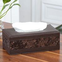 Boîte à mouchoirs en cuir Rectangle carré Stylo de rangement à distance Organiseur de bureau Serviette en papier Porte-serviettes Distributeur couvertures