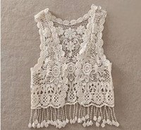 Sexy Bordado Bordado Vintage Retro Doce Meninas Bonitos Crochet Floral Hollow Lace Vest Outwear Slim Bohemia Tank Top A5957