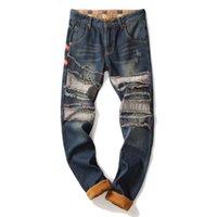 MJARTORIA Мужские зимние теплые рваные джинсы Брюки флис Выровняно Уничтожено Denim брюки Толстый Термические Проблемные джинсы пэчворк