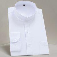 Chinease gola simples Regular Fit partido manga longa sólida bussiness camisas formais para homens confortáveis com bolso no peito CX200629