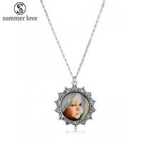 Retro Cabochon de cristal lindo del bebé colgante Charm Neckalce para mujeres VintAge plata bronce cadena collar de cuero regalo de la joyería