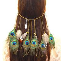 جديد البوهيمي الطاووس ريشة هيرباند الأزياء الهبي الوطنية الرياح عقال النساء رئيس التبعي 3 ألوان بالجملة