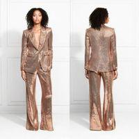 Rose Gold 2020 Abendkleider Pailletten Mutter der Braut Anzüge Slim Fit Kleider Damen Party Prom Tragen Für Hochzeit(Jacke + Pants)