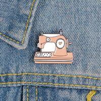 Cartoon naaimachine emaille pins dressmaker handwerk broches metalen badge jeans tas sieraden cadeau vriend