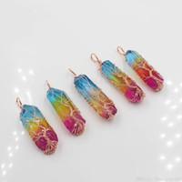 7 Chakra Árbol de la vida collares pendientes del arco iris natural hecho a mano de piedra para la declaración de las mujeres de los hombres de cadena larga de la joyería collar de regalo de Chritmas
