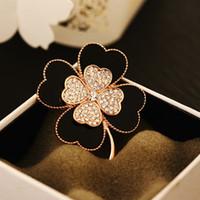 Nuovo design di lusso alla moda della moda bellissimo diamante quadrifoglio fiore elegante spilla spille gioielli per donna ragazze