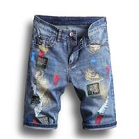 새로운 여름 남성 구멍 데님 반바지 패션 남성 데님 청바지 슬림 스트레이트 팬츠 트렌드 남성 디자이너 Pants1