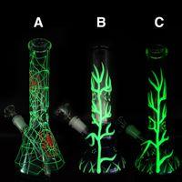 vidro bong tubulação de água brilham em verde escuro 10,5 polegadas tubos de vidro fumadores com 14 milímetros Jolint vidro Downstem e frete grátis tigela