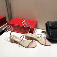 Moda sıcak cleo gökkuşağı sandal Kristal Serpantin sarma Burnu açık Seksi strass 40 Yüksek Topuk Parti Kadın Tasarımcı rc Sandalet