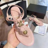 Üst sınıf markalı zarif altın çiçek çevirme tasarımcı sandalet lüks kadın moda ayakkabılar 40 tradingbear pembe boyutu 35 kırmızı plaj ayakkabıları flop
