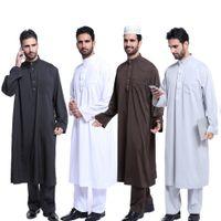 Musulman Mens Saoudien Thobe Robe Arabe Caftan Robe avec Pantalon À Manches Longues Musulman Islamique Caftan Islamique Thobe Vêtements Robe Arabe Saoudien