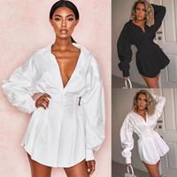 Kadın Sonbahar Uzun Kollu Katı Yaka Gömlek Kısa Elbise Günlük Gevşek Bluz Tops