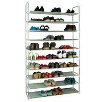 Стойка для обуви Waco, 10 уровня Водонепроницаемая ткань Съемная простая простая сборочная космическая экономия для хранения Организатор для хранения Обувная Полка для хранения черная