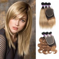 KISSHAIR T1B27 T1B30 Günstige Bündel mit Schließung 2 Ton Ombre Color 200g / Set Honig Blonde Medium Auburn Brazilian Human Hair Extension