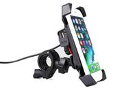 Soporte para teléfono móvil del soporte del soporte del teléfono celular de la motocicleta con el soporte USB para el teléfono