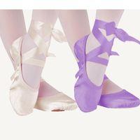 تقسيم الوردي الأرجواني المشمش الأحمر قماش أحذية الباليه الرقص الوحيد من جلد الغزال الأطفال 23-30 الأطفال النعال