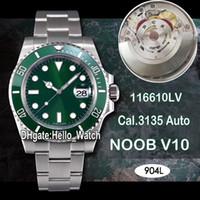Super N V10 SA3135 116610 116610LV Cerâmica automática Bezel Discagem Verde 904L Steel Mens Assista Best Edition Blue Hairspring Watchesello_Watch