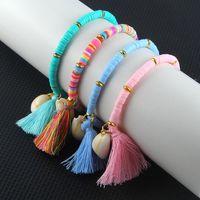 bracciale shell Bohemian stile nazionale nappa braccialetto colorato fascino morbido cinturino dell'orologio di ceramica per le ragazze signora partito favore T2C5240