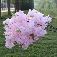 6PS Поддельный Cherry Blossom Цветок Бегония Отделение Сакура Дерево Стволовые для проведения венчания дерева Декор искусственного декоративного Фиктивный Цветы