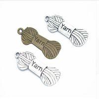 100PCS / lot Antike-Silber-Bronze Yarn Skein Knit-Charme-Anhänger für Schmucksachen, die Armband-Zusätze DIY 31x12mm