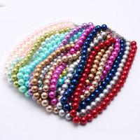 Più nuovi monili di modo di stile Kid Chunky collana ragazze Beads Bubblegum collana robusta solido di colore perla per bambini