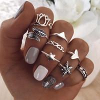 US-Warehouse Boho-Stil Fingerring-Set - coole Mädchen Dreiecksstern-Fischtail-förmiger Gelenkknöchelnagel-Anweisung Ring-Set für Frauen Mädchen