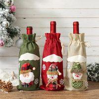 창조적 인 만화 크리스마스 선물 리넨 와인 병 커버 가방 홀더 홈 파티 저녁 식사 테이블 장식 새해 크리스마스 장식