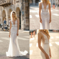 Gali Karten 2019 Beach Mermaid Wedding Dresses Deep V Neck L...