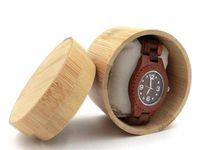 Природный Bamboo Box для ювелирных изделий Часов Деревянного Box Мужских наручных часы держателя Коллекция дисплей Случай хранение подарки