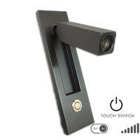 Гибкий светодиодный светильник для чтения Черный корпус Хромированная диммерная головка переключателя Поворот на 90 градусов влево / вправо / вперед по вертикали / горизонтальный монтаж