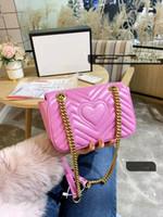 Nuevo bolso de la manera Uno del cuero auténtico bolso de hombro del cubo Bolsas Mujer inclinado a través de la cadena pequeña fiesta Ling Mujer alta calidad del paquete