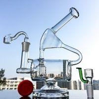 9-дюймовый Уникальный Clear Glass Bong Ресайклер Oil Rig Dab Honeycomb Проц водопроводы Rigs Инлайн Проц водопроводная труба 14мм Женский Joint с чашей WP143