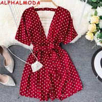 ALPHALMODA Women' s Seaside Holiday Polka Dot Sexy V- nec...