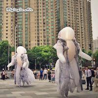 Personnalisé Éclairage Marcher Costume De Fantôme Blanc Gonflable Robe 3.5m Effrayant Explosion Effrayant Pour Halloween Nuit Décoration Et Parade Décoration