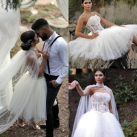 Hot Short Puffy Tulle 2020 Country Wedding Dresses with Wrap...