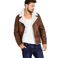 Men Leather Jacket Warm Fur Lining Laple Lamb Fleece Leather...