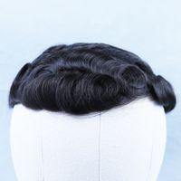 Männer Toupee Natürliche Perücken gebleichtes Knoten Toupee Echte Haare Männliche Perücken Haareinheit Herrenhaar Toupee Spitze und PU