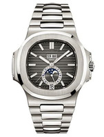 Elegante quadrante blu sportivo nero automatico meccanico designer orologio luna fase data 24 ore ben noto uomo uomo orologi da uomo riguardo a 5726