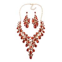 Charm sposa gli orecchini di cristallo collana gioielli per le donne Strass Dichiarazione monili della collana di orecchini di cerimonia nuziale di promenade di Natale 7