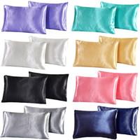 الحرير الحرير كيس المخدة الملكة الحرير الحرير كيس المخدة وسادة القضية غطاء الرئيسية الفراش السلس الصلبة لينة حريري المخدة اللون النقي