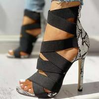 Donna Sandali estate più il formato Croce Legato Sexy Snake Hollow stampato Ankle Strap 2020 nuovo sottile tacco alto femminile cerniera ShoesMultifunction