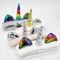 Diadema de lentejuelas unicornio Mujer Coral Velvet Wash Face Diadema Cute Girl Turbante Halloween Navidad Accesorios para el cabello TTA1525
