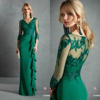 Green Madre of the Bride Dresses V Neck Appliqued Appliqued 3/4 Maniche lunghe Matrimonio Guest Gown Ago Rassk Floor Langins su misura Mother Gown