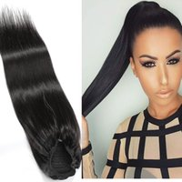 Peruana seda Ponytails retas 8-24inch Natural Color 100g New Hair Products Pony Tails Cheap Hair Extensions Ajustable