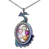 C1552 Rainbow peacock puede abrir cuentas de perlas jaula con diamantes de imitación de cristal magnética flotante Locket colgantes mujeres encantos collar