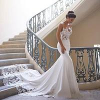 Espaguete cintas laço sereia vestidos de praia cetim applique varrer trem boho pageant vestidos nupciais robes de mariée vestido bonito