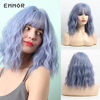 Perucas sintéticas Emmor 14 polegadas Short Omber Blue Water Wig Wig com franja puro para mulheres resistentes ao calor Bob Cosplay Party Wigs