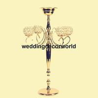 Cristal De Mariage Candélabre En Métal Bougeoir avec Fleur Bol Grand Chandelier Décoration Table Pièce maîtresse Stand De Vase decor253