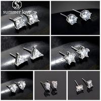 925 Sterling Silber Zirkonia Ohrstecker für Mädchen Student Herz Runde quadratische Sterne Waterdrop Form eine Woche 7 Arten von kleinen Ohrring