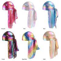 Hombres Mujeres raso RAG transpirable Bandana turbante sombrero sedoso Durag hacer doo rag du Headwear Pañuelo de cabeza larga cola headwrap cráneo del casquillo de DHL